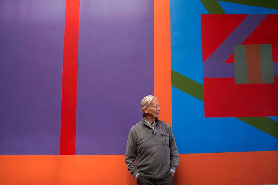 Brian O'Doherty at his show at the Sirius Arts Centre, Cobh, 2018. Courtesy: Sirius Arts Centre, Cobh; photograph: Clare Keogh